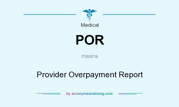 What does POR mean? It stands for Provider Overpayment Report