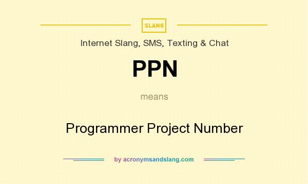 What does PPN mean? It stands for Programmer Project Number
