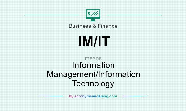 What does IM/IT mean? It stands for Information Management/Information Technology
