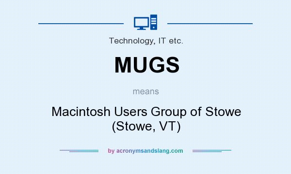 What does MUGS mean? It stands for Macintosh Users Group of Stowe (Stowe, VT)