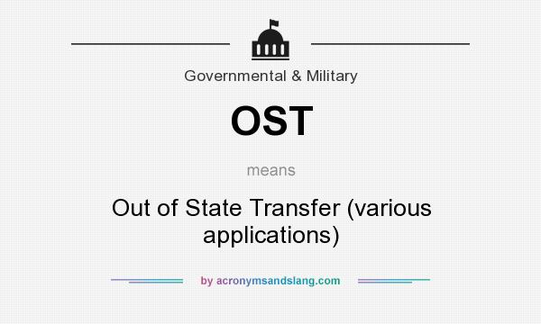 What does OST mean? It stands for Out of State Transfer (various applications)