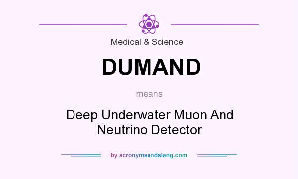 What does DUMAND mean? It stands for Deep Underwater Muon And Neutrino Detector