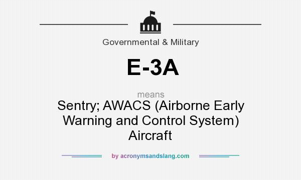 What does E-3A mean? It stands for Sentry; AWACS (Airborne Early Warning and Control System) Aircraft