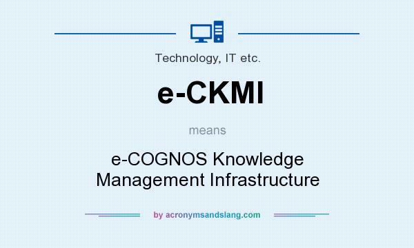 What does e-CKMI mean? It stands for e-COGNOS Knowledge Management Infrastructure