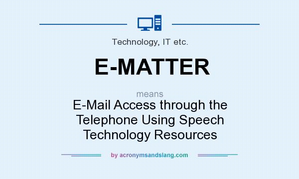 What does E-MATTER mean? It stands for E-Mail Access through the Telephone Using Speech Technology Resources