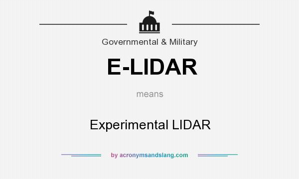What does E-LIDAR mean? It stands for Experimental LIDAR