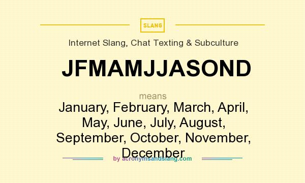 JFMAMJJASOND - January, February, March, April, May, June