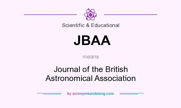 What does JBAA mean? It stands for Journal of the British Astronomical Association