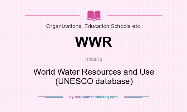 What does WWR mean? It stands for World Water Resources and Use (UNESCO database)