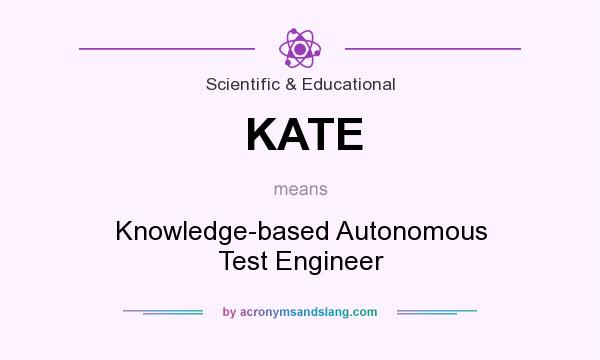 What does KATE mean? It stands for Knowledge-based Autonomous Test Engineer