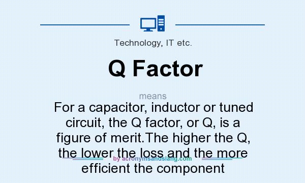What does Q Factor mean? It stands for For a capacitor, inductor or tuned circuit, the Q factor, or Q, is a figure of merit.The higher the Q, the lower the loss and the more efficient the component