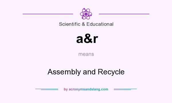 What does a&r mean? It stands for Assembly and Recycle