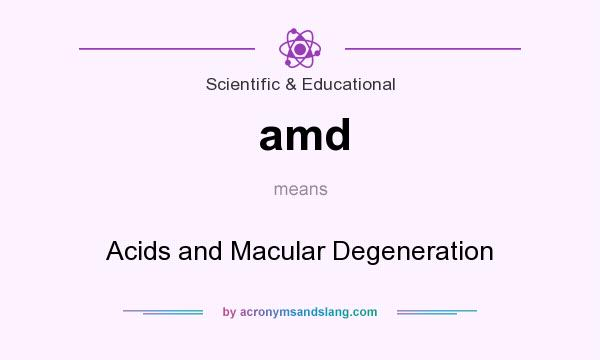 What does amd mean? It stands for Acids and Macular Degeneration