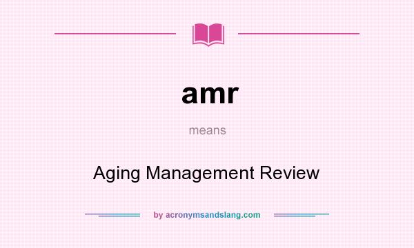 What does amr mean? It stands for Aging Management Review