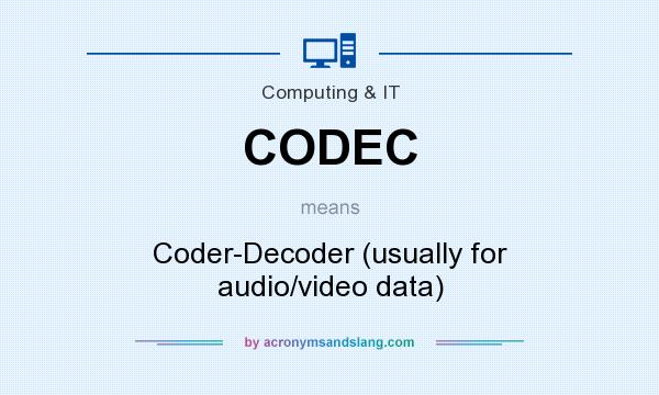 What does CODEC mean? It stands for Coder-Decoder (usually for audio/video data)