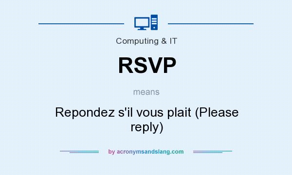 What does RSVP mean? It stands for Repondez s`il vous plait (Please reply)