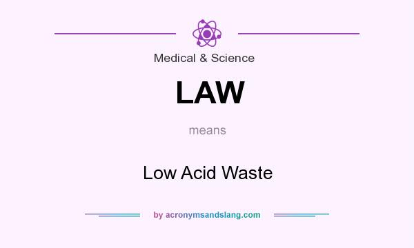 What does LAW mean? It stands for Low Acid Waste