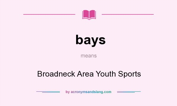 What does bays mean? It stands for Broadneck Area Youth Sports