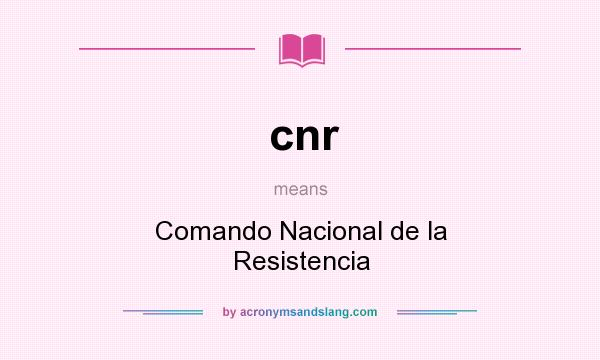 What does cnr mean? It stands for Comando Nacional de la Resistencia