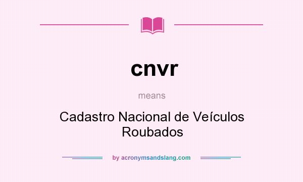What does cnvr mean? It stands for Cadastro Nacional de Veículos Roubados