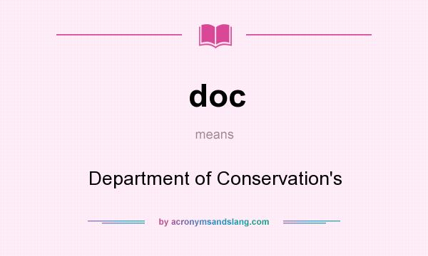 What does doc mean? It stands for Department of Conservation`s
