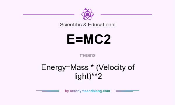 What does E=MC2 mean? It stands for Energy=Mass * (Velocity of light)**2