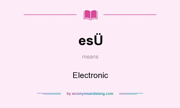 What does esÜ mean? It stands for Electronic