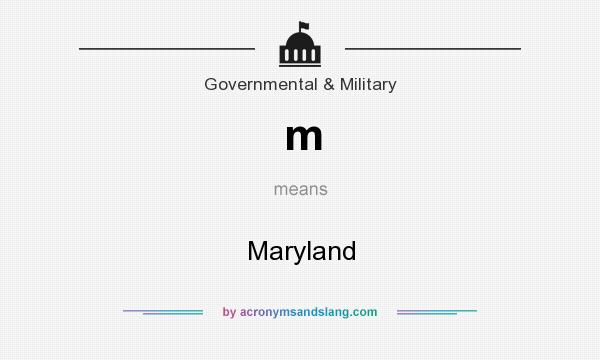 What does m mean? It stands for Maryland