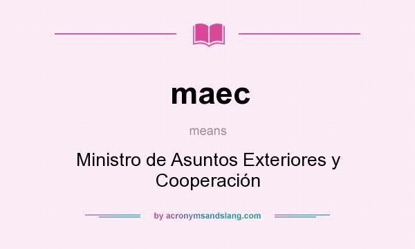 What does maec mean? It stands for Ministro de Asuntos Exteriores y Cooperación