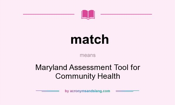 What does match mean? It stands for Maryland Assessment Tool for Community Health