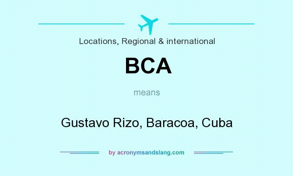 What does BCA mean? It stands for Gustavo Rizo, Baracoa, Cuba