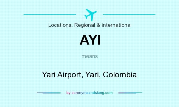 What does AYI mean? It stands for Yari Airport, Yari, Colombia