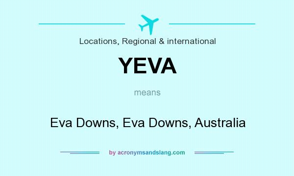 What does YEVA mean? It stands for Eva Downs, Eva Downs, Australia