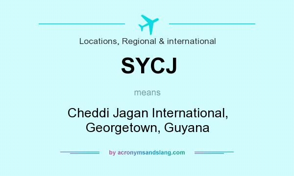 What does SYCJ mean? It stands for Cheddi Jagan International, Georgetown, Guyana