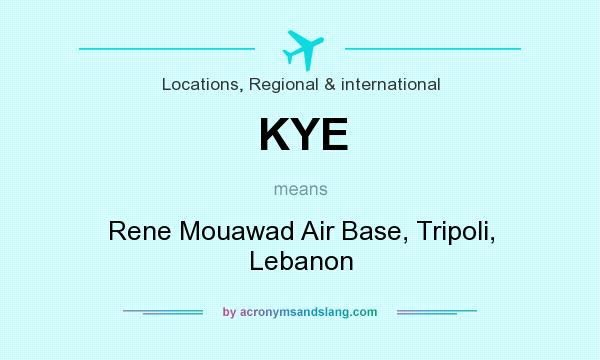 What does KYE mean? It stands for Rene Mouawad Air Base, Tripoli, Lebanon