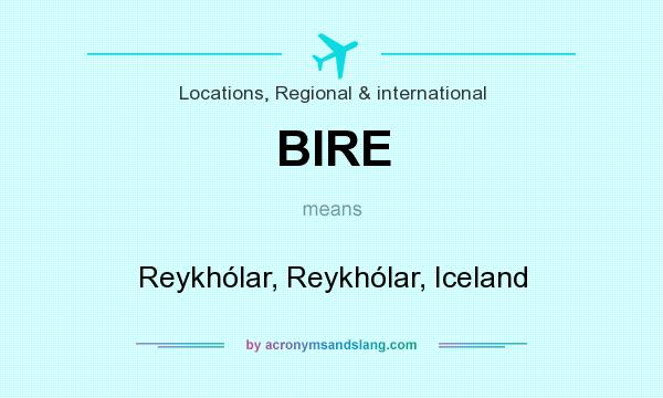 What does BIRE mean? It stands for Reykhólar, Reykhólar, Iceland