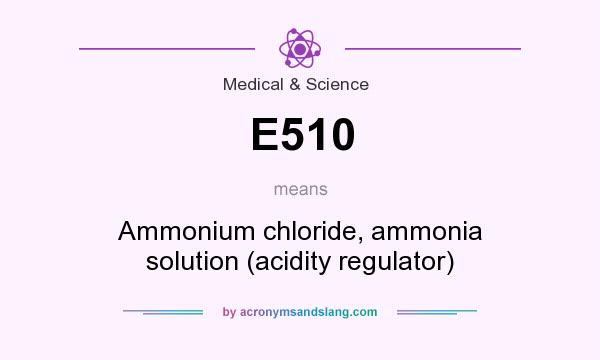 What does E510 mean? It stands for Ammonium chloride, ammonia solution (acidity regulator)
