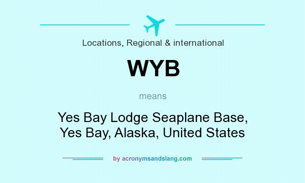 What does WYB mean? It stands for Yes Bay Lodge Seaplane Base, Yes Bay, Alaska, United States