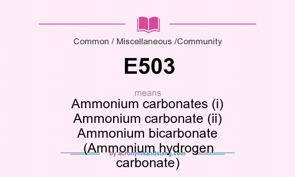 What does E503 mean? It stands for Ammonium carbonates (i) Ammonium carbonate (ii) Ammonium bicarbonate (Ammonium hydrogen carbonate)