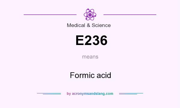 What does E236 mean? It stands for Formic acid