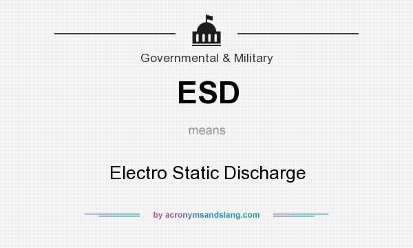 What does ESD mean? It stands for Electro Static Discharge