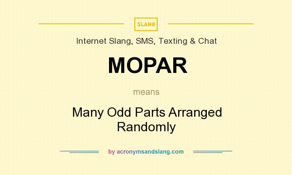 What does MOPAR mean? It stands for Many Odd Parts Arranged Randomly