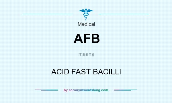 What does AFB mean? It stands for ACID FAST BACILLI