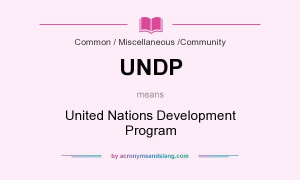 What does UNDP mean? It stands for United Nations Development Program