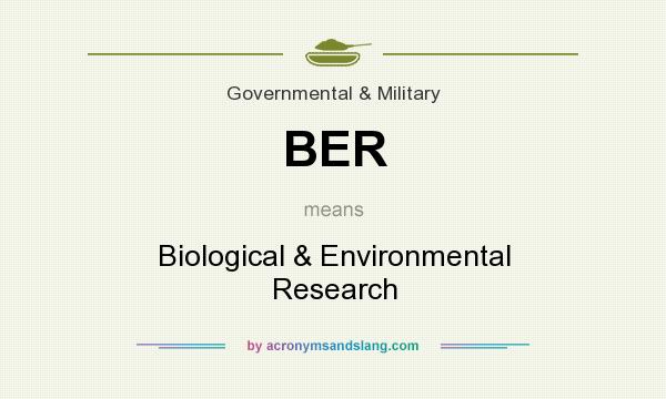 What does BER mean? It stands for Biological & Environmental Research