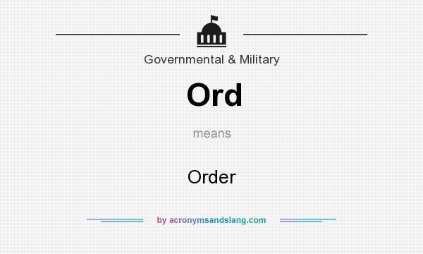 What does Ord mean? It stands for Order