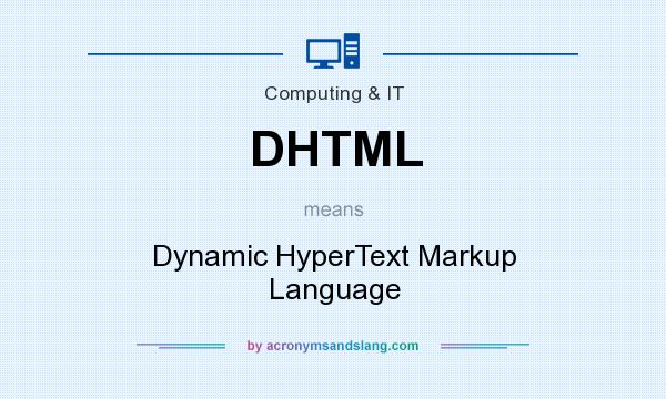 What does DHTML mean? It stands for Dynamic HyperText Markup Language