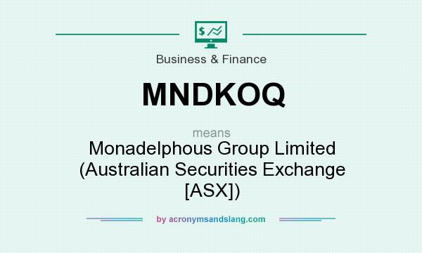 What does MNDKOQ mean? It stands for Monadelphous Group Limited (Australian Securities Exchange [ASX])
