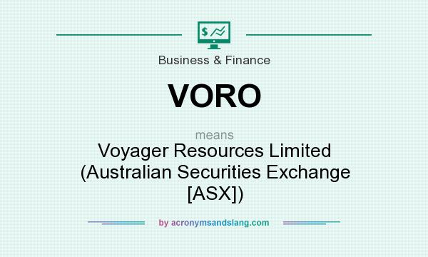 What does VORO mean? It stands for Voyager Resources Limited (Australian Securities Exchange [ASX])