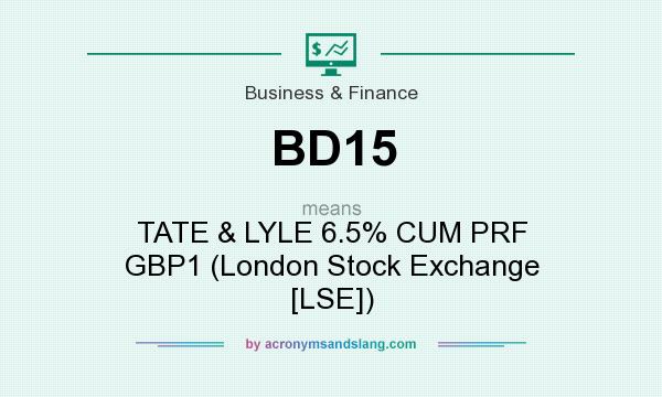 What does BD15 mean? It stands for TATE & LYLE 6.5% CUM PRF GBP1 (London Stock Exchange [LSE])